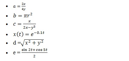 List of Mathematical Functions and Expressions in MATLAB