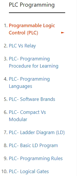 PLC programming tutorial list