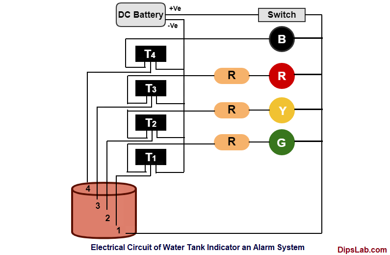 circuit diagram of Water-tank-level-detector